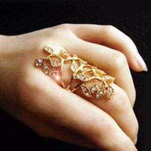 Rhinestone Leaf Knuckle Ring